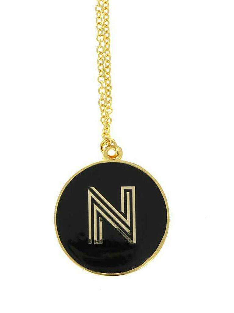 monogram enamel necklace