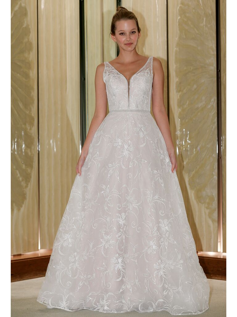 Randy Fenoli Fall 2019 Bridal Collection A-line wedding dress with floral embroidery
