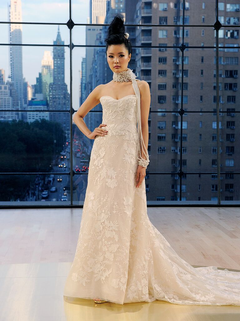 Ines Di Santo Fall strapless A-line Bryant gown with lace applique