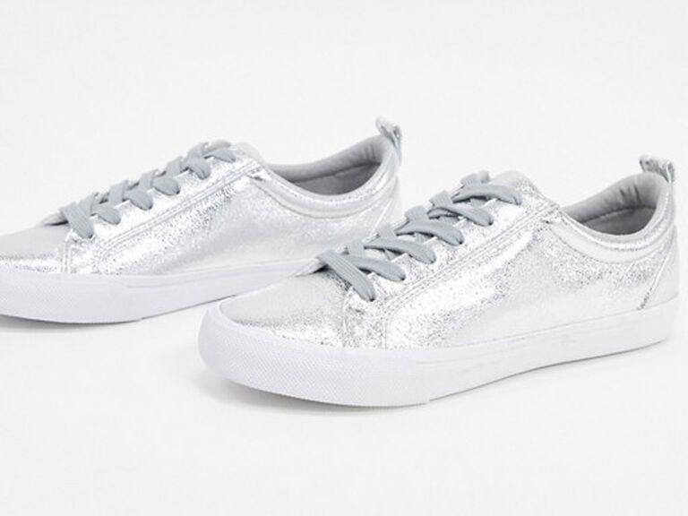Silver wedding sneakers