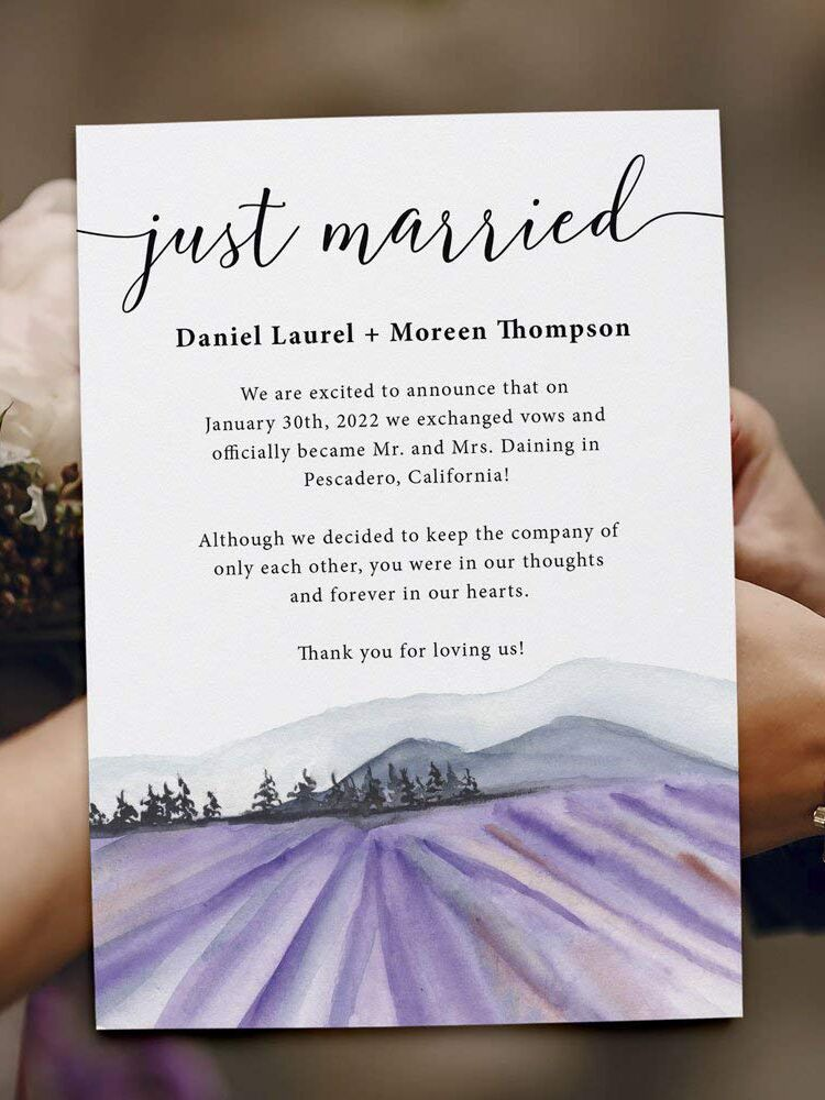 Love at Every Sight lavender wedding announcement