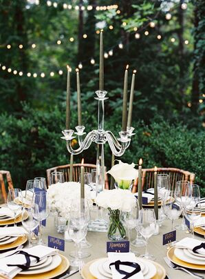 Acrylic Candelabra Centerpiece with Green Taper Candles