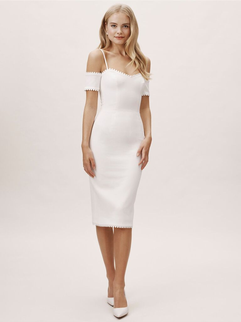 White cold-shoulder engagement party dress