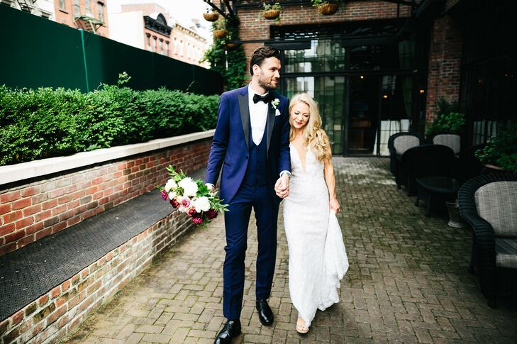 Navy Tuxedo and Fitted Wedding Dress with Lace, Beading and Plunging Neckline