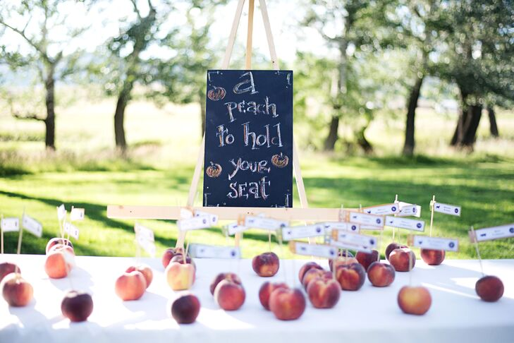 Scott and Sara used peaches as stands for their place cards.