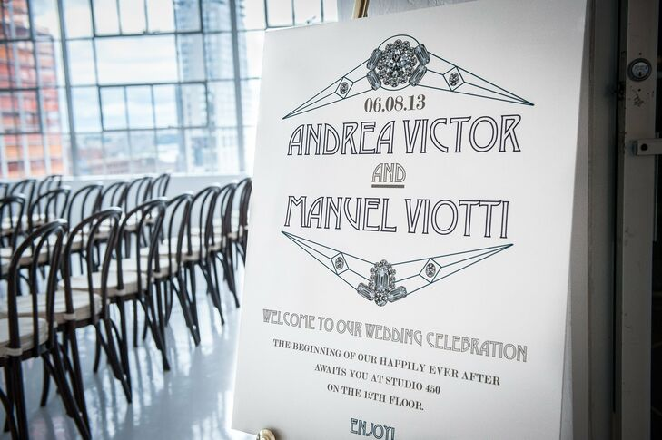 The printed sign upon entering the venue read the couple's names and where the reception was to take place following the ceremony.