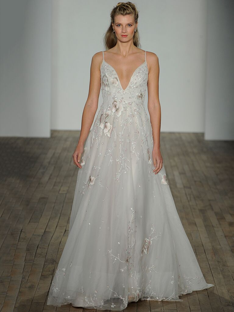 e44f6a6cd647c Hayley Paige Spring 2018 Lilith toile beaded and embroidered A-line gown  with deep V