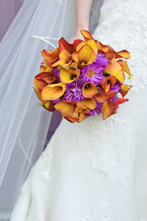 Orange and Light Purple Bridal Bouquet