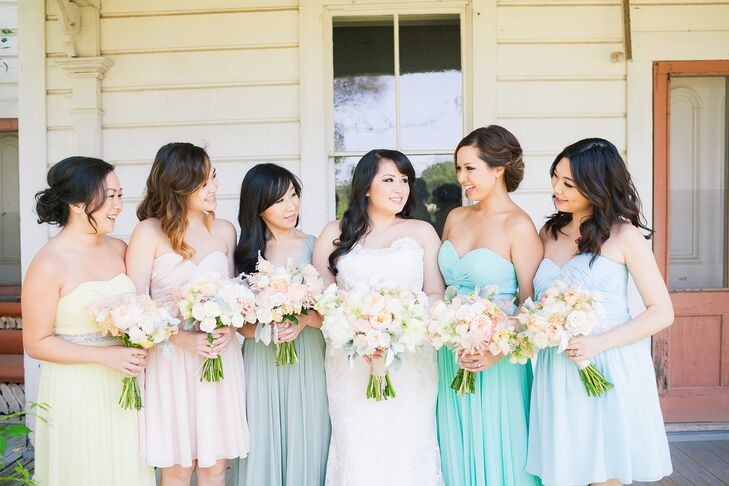 """""""We suggested that everyone, including the wedding party, wear their Sunday best. No specific colors, themes or threads required,"""" Chi says. """"Our bridesmaids picked out their own dresses, and the groomsmen also wore mismatched attire. Ryan's best man had the best outfit, which was a three-piece denim suit!"""""""