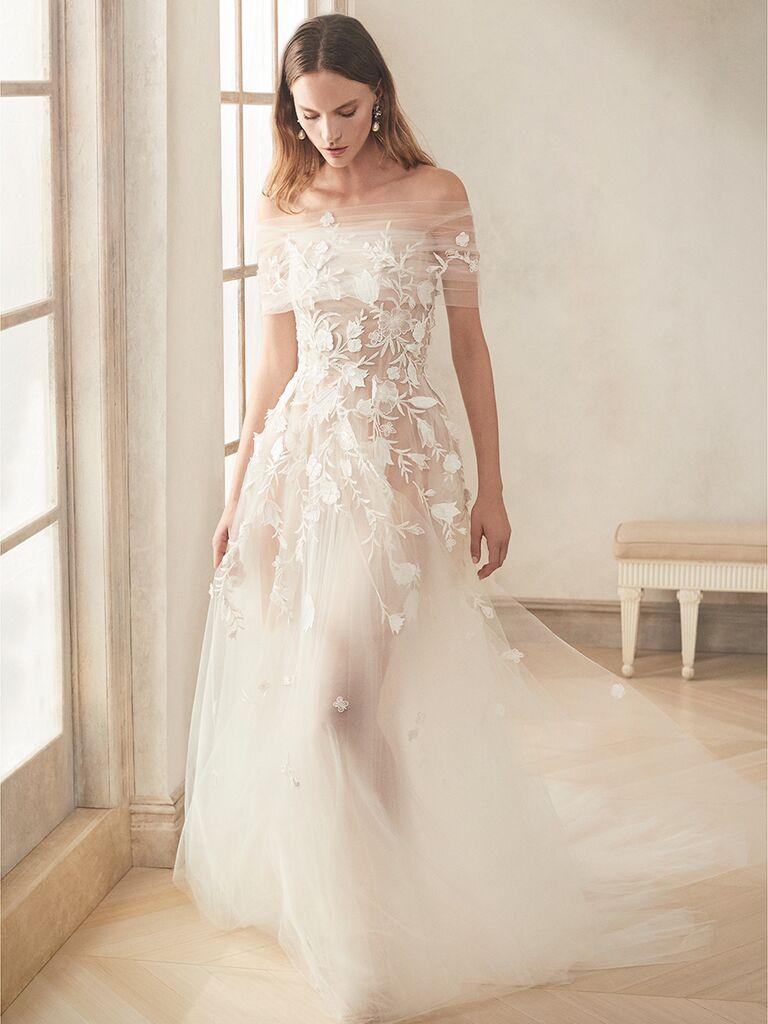 oscar de la renta off the shoulder gown floral designs