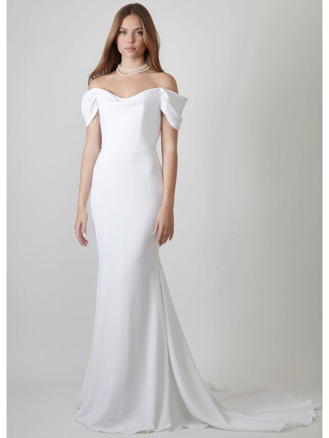 Lihi Hod Couture crepe off-the-shoulder trumpet wedding dress