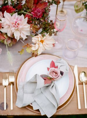 Pink Place Setting with Grey Linen, Fall Leaves and Pink Rose