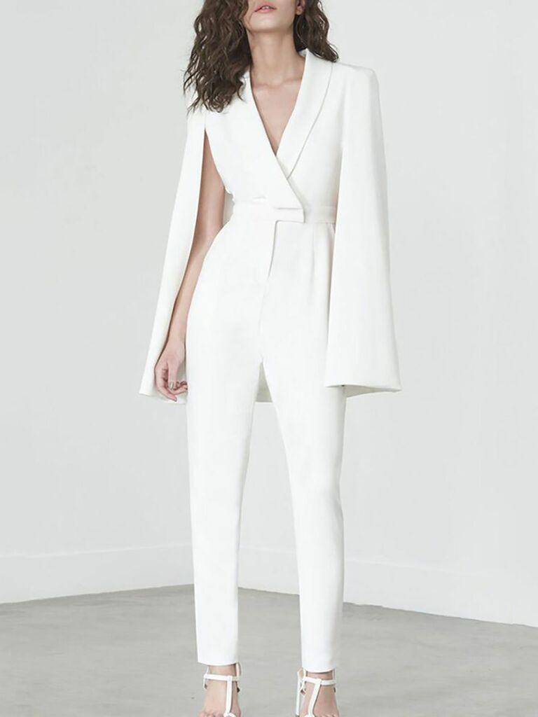Holeyo white slinky jumpsuit - bridal jumpsuits