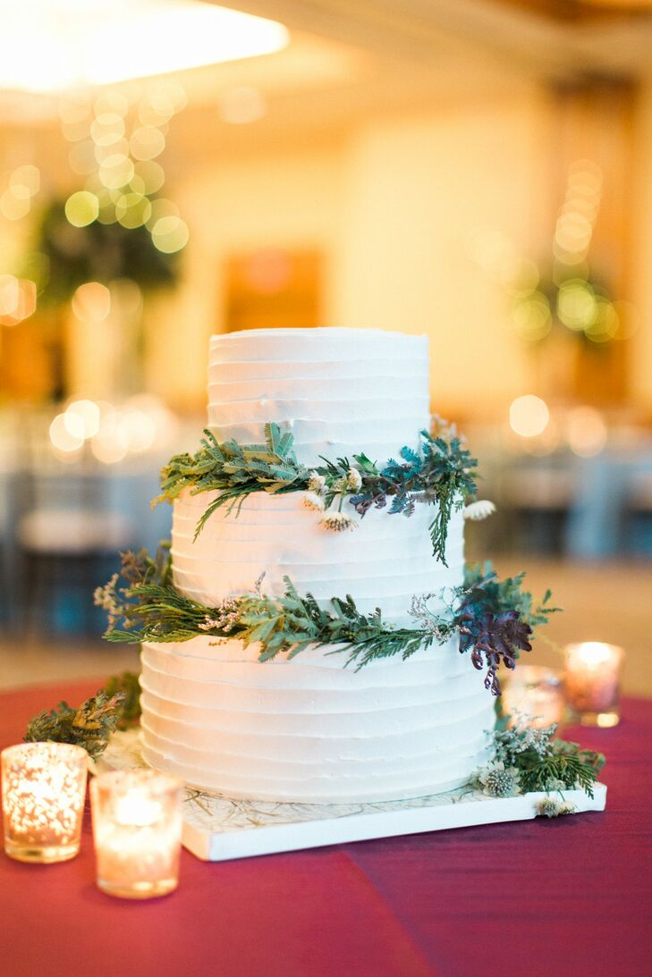 Round, Tiered Buttercream Cake with Greenery