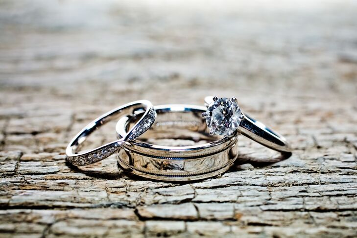 Round-Cut Diamond and Silver Rings
