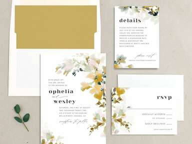 wedding stationery suite with floral watercolor design
