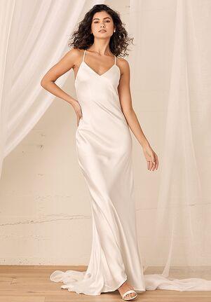Lulus Always My Love White Satin V-Neck Maxi Dress Sheath Wedding Dress