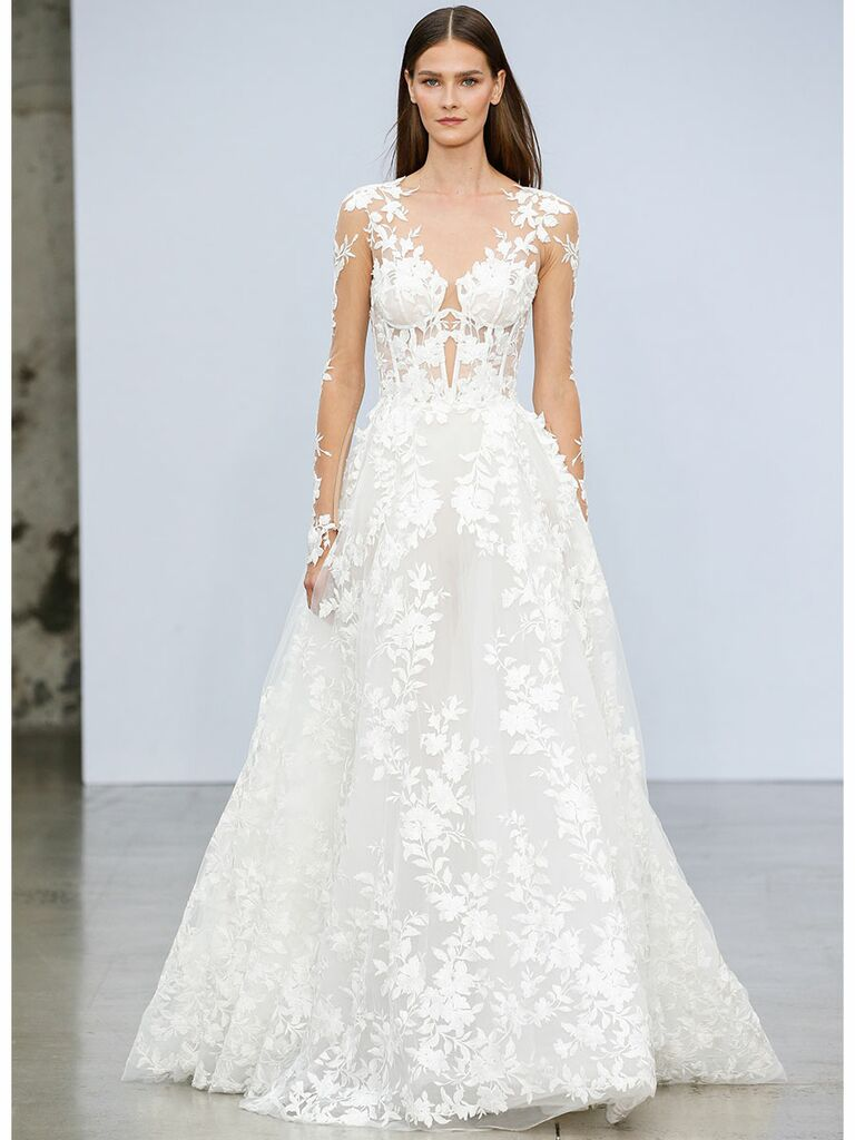 Pnina Tournai wedding dress illusion long sleeve a-line gown