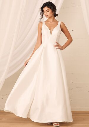 Lulus Luxe Bridal All My Devotion White Taffeta Sleeveless Plunge A-Line Gown A-Line Wedding Dress