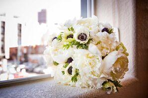 White Anemone, Peony Bridal Bouquet