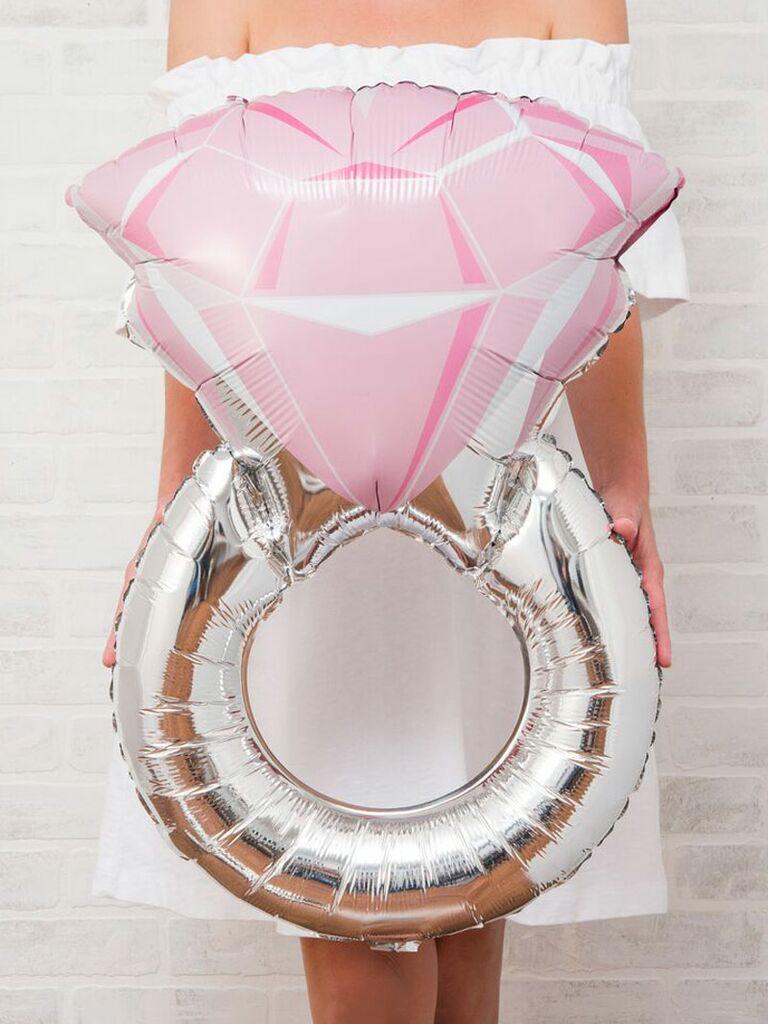 Pink engagement ring balloon