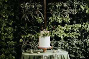 Two-Tier Cake with Fern Backdrop