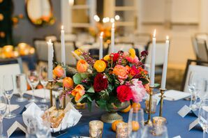 Orange Centerpieces for Reception at the Kimpton Brice Hotel in Savannah, Georgia