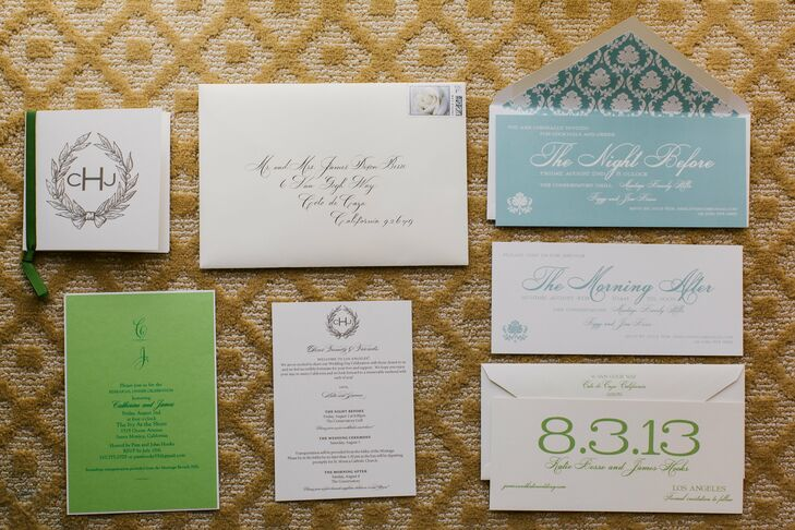 I have always loved my own mother's wedding invitations and I wanted my wedding invitation to be an updated version of this classic style, says Katie. We created a formal engraved invitation with a modern twist by incorporating a wedding monogram band that was used to hold our wedding invitation together and it became a way to seamlessly tie various aspects of our wedding together.