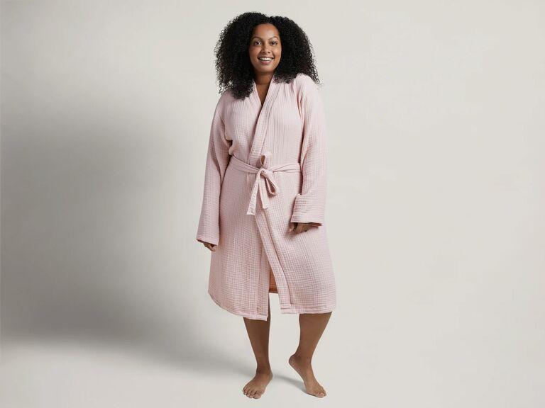 soft pink cotton robe