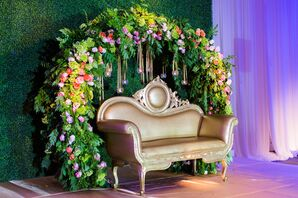 Garden-Inspired Floral Arch with Hanging Candles