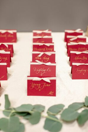 Red Escort Cards for Wedding at the University of Illinois