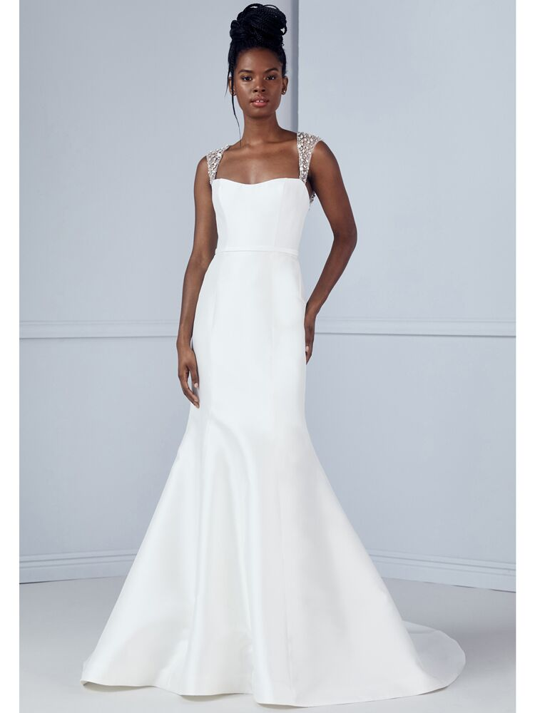 Amsale fit-and-flare wedding dress with beaded straps