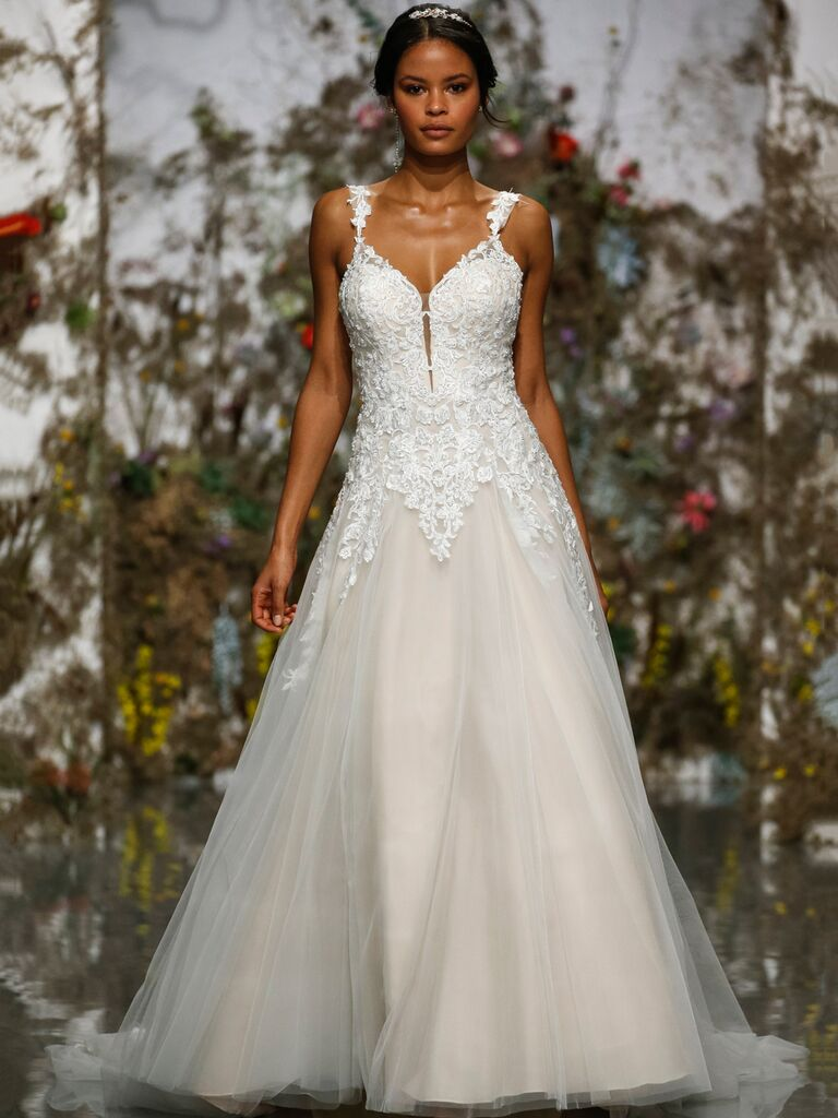 Morilee by Madeline Gardner Spring 2020 lace and tulle A-line dress