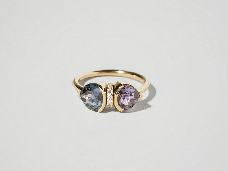 Sark sapphire and diamond two stone ring