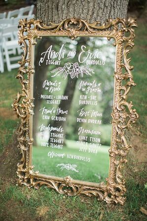 Gold-Framed Welcome Mirror