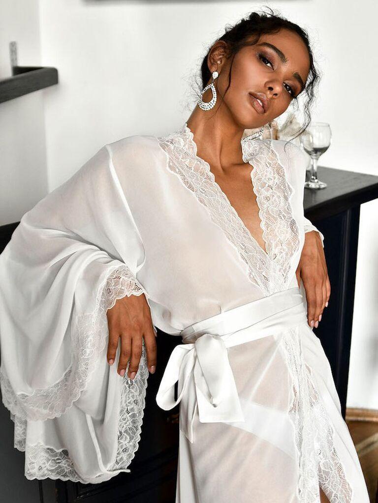 white robe wedding day