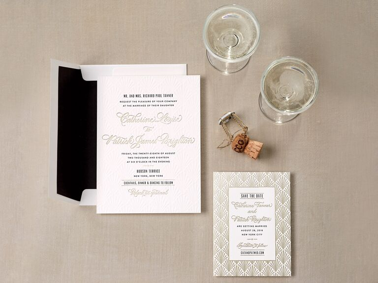 Gold foil deco-inspired wedding invitation
