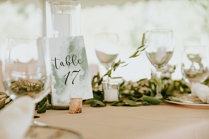 Sage-Green Watercolor Table Numbers