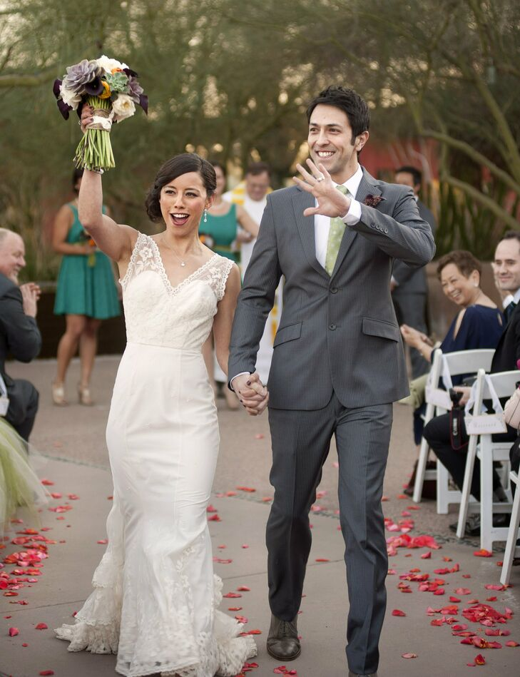 Nichole and JJ held an intimate wedding at the Desert Botanical Garden in Phoenix. A variety of cacti and desert blooms offered a unique, southwestern