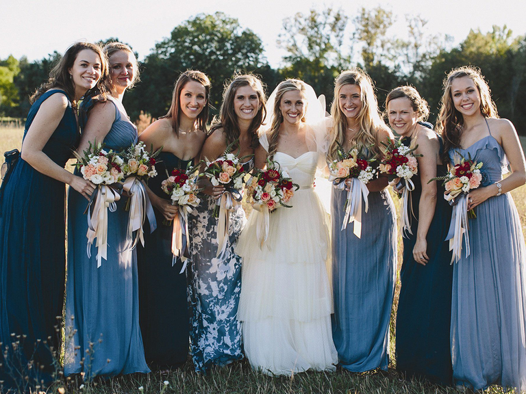 Shades Of Blue And A Coordinating Print Mismatched Bridesmaid Dress