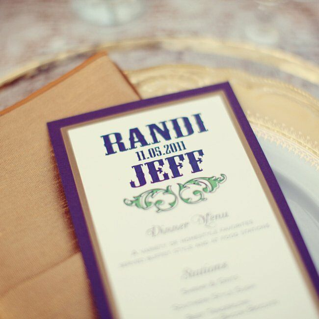 A bold Western font brought southern style to the purple-and-gold menu cards.