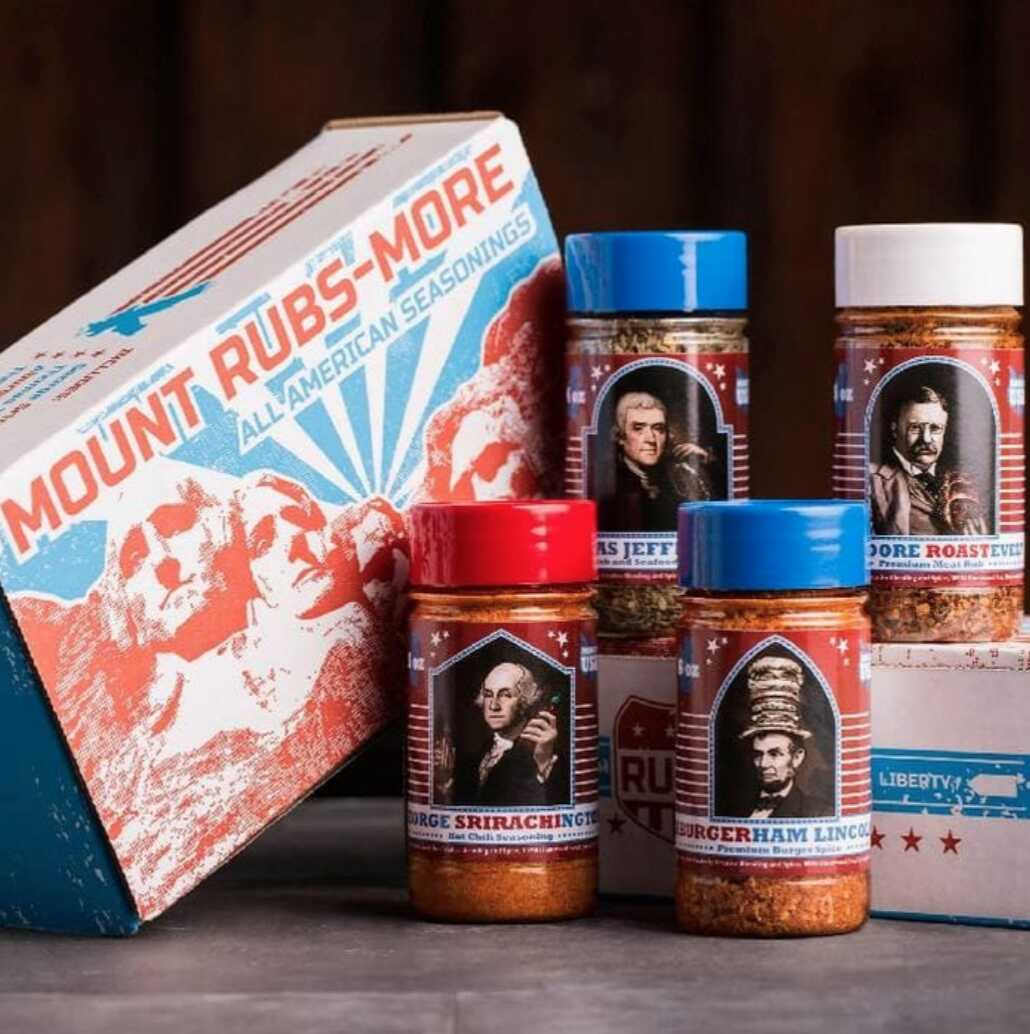 mount rubs-more box with spices inspired by mount rushmore