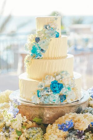 Round Tiered Cake with Blue Watercolor Flowers