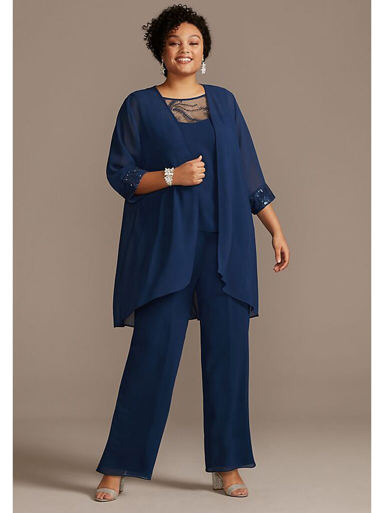 Blue three-piece mother of the bride suit with lace trim