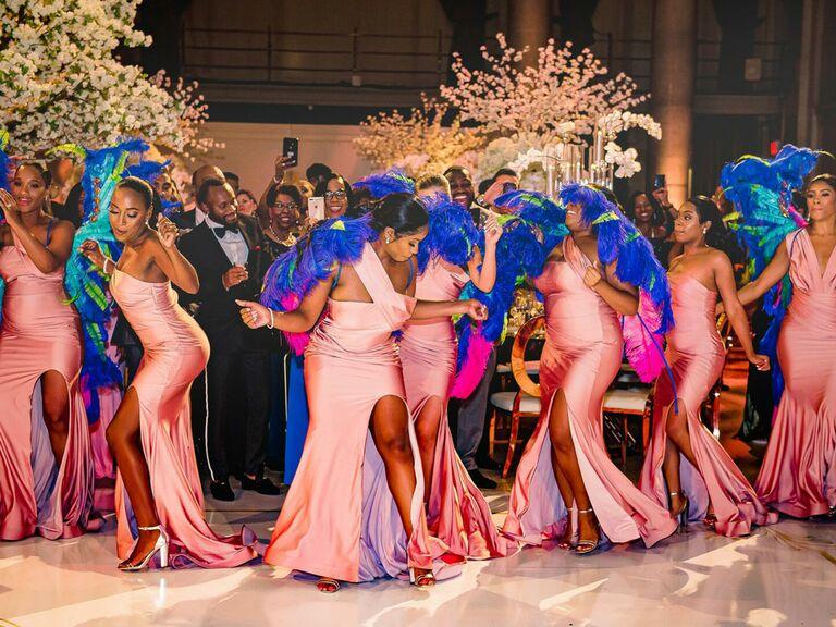 Bridesmaids dancing at wedding reception