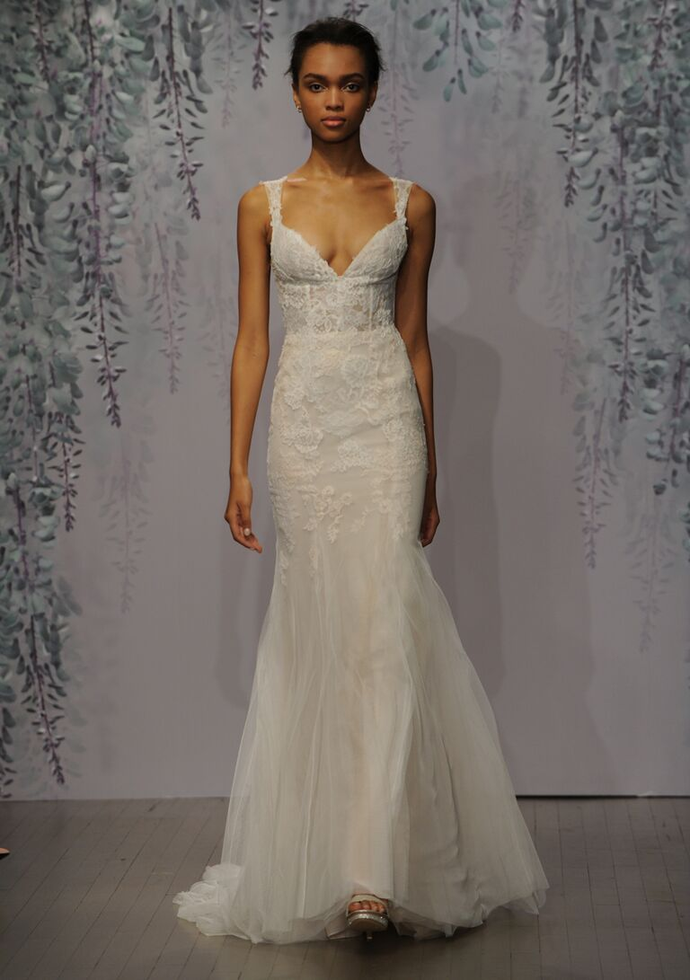 Monique Lhuillier wedding dress Fall 2016 silk white/sorbet Chantilly and Re-embroidered lace sleeveless plunging V-neck sheath gown with godet bottom