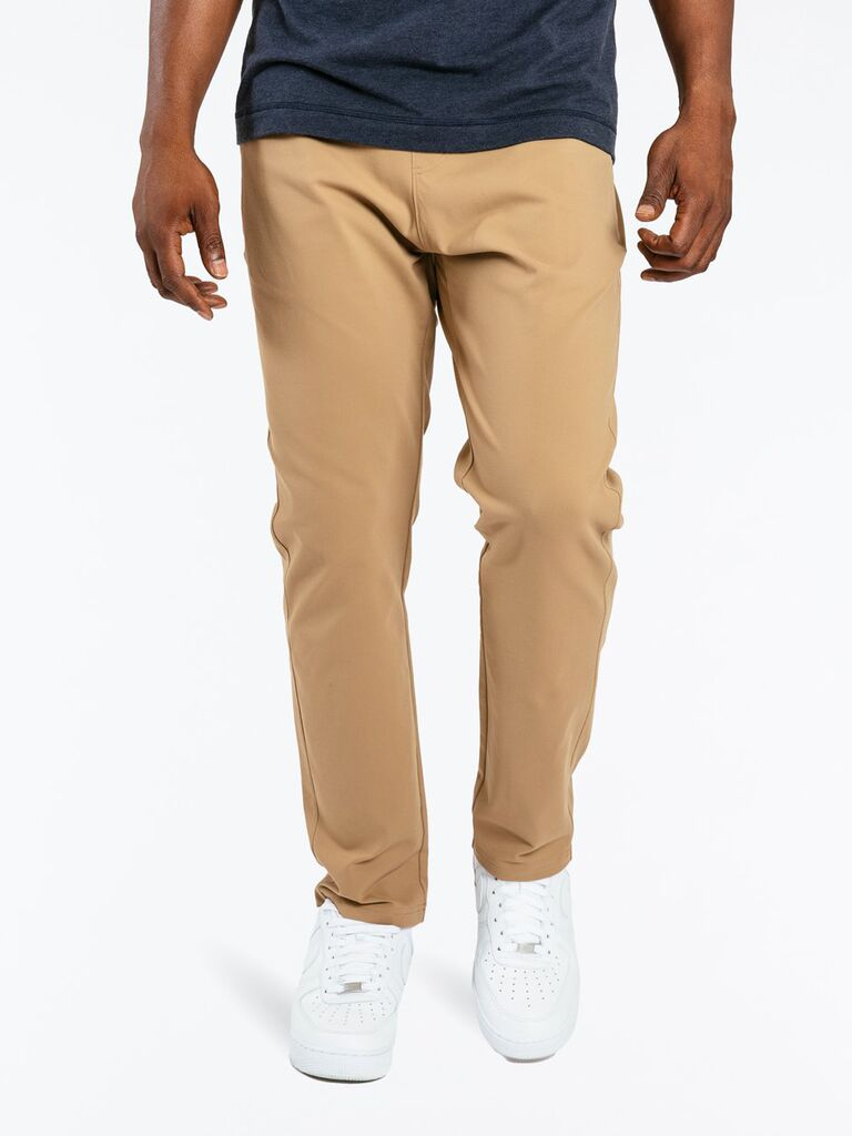 Man wearing fashionable beige pants Valentine's gift idea