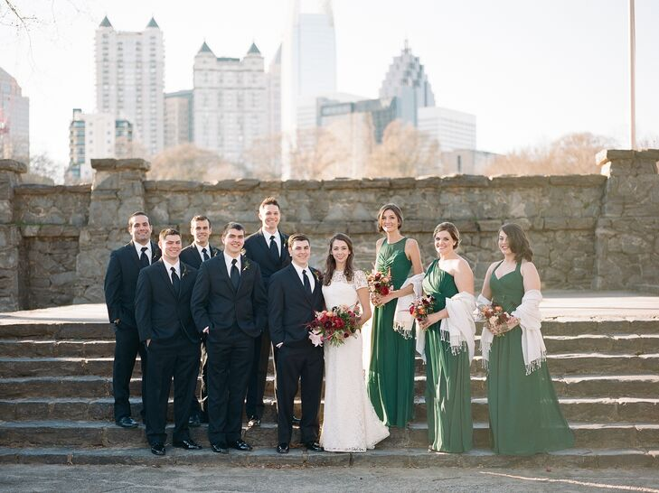 Elegant Emerald Chiffon Bridesmaid Dresses