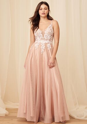 Lulus Luxe Bridal Beloved One Mauve Sequin Embroidered Tulle Backless Maxi Dress A-Line Wedding Dress