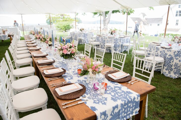 Tented Reception with Blue and White Accents